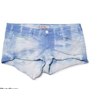 3/$20 Garage tie dye denim stretch shorts blue